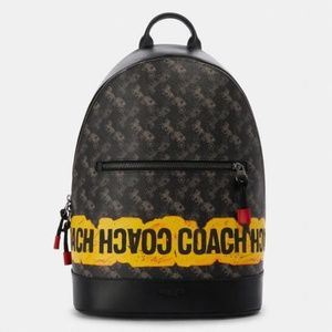 Coach West Slim Men Backpack Black Graffiti Print